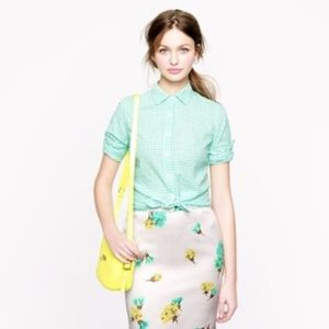 J. Crew Perfect Shirt in Green Gingham